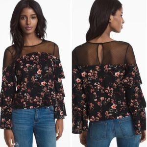 White House Black Market Blouse Floral Size Small